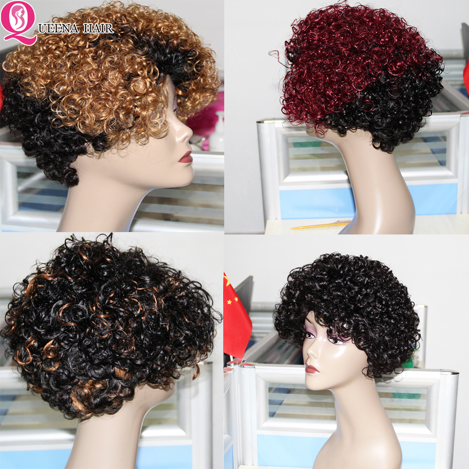Short Bob Ombre Highlight Blonde Full Wig Peruvian Curly Human Hair Wigs For Women T1b 27 1B/99J Remy 150% Machine Made Bob Wig