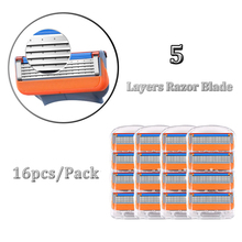 Men Razor Blades 5 Layers Stainless Steel Replace Razor Blade For Gillettee Fusione 16pcs/Pack For Shaving Cassettes