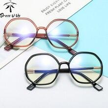 DRESSUUP Men Vintage Anti Blue light Clear Glasses Metal Fra