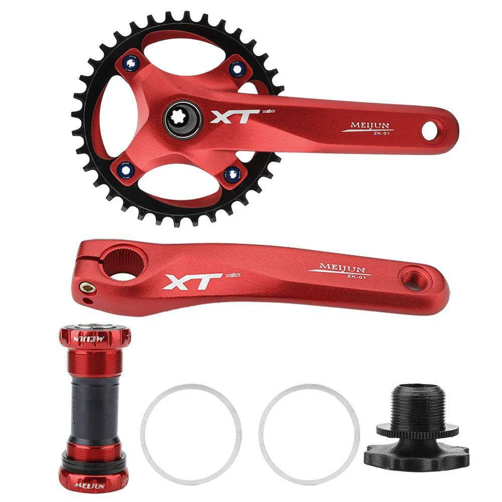Aluminum Alloy MTB Bike Chain Wheel Crankset Hollow Tooth Plate Crank Arm Sprocket Bicycle with Bottom Bracket Disk BCD