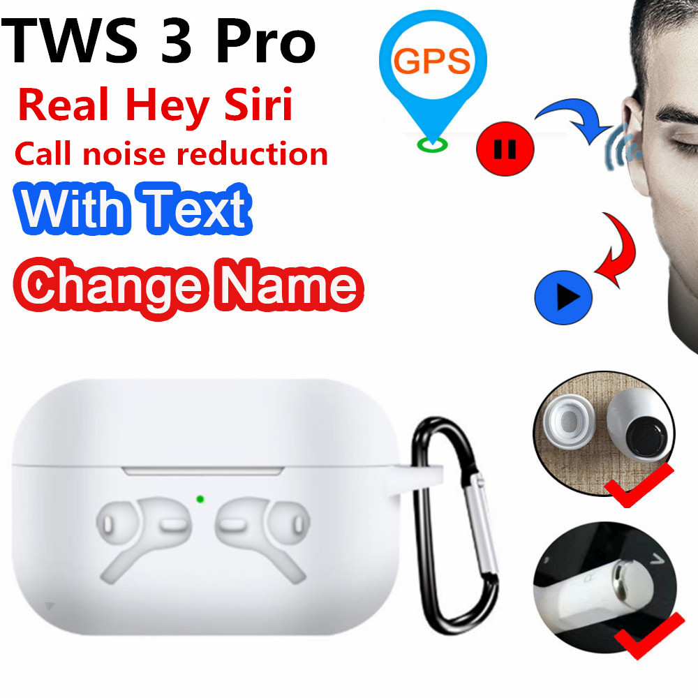 TWS 3 Pro 2.0 Bluetooth Earphones With Real Hey Siri Positioning Name Change Smart Sensor Wireless Charging Noise Reduction