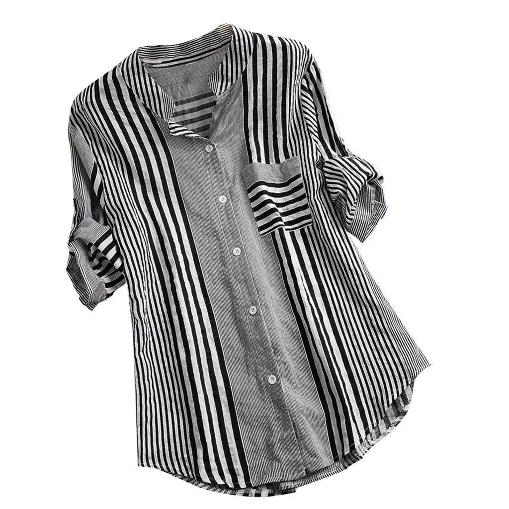 4xl Plus Size Striped Print Tunic Tops Button Up Three Quarter Shirts V neck Casual Loose Fit Top Blouse Female Clothing Рубашка