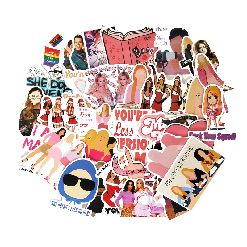 35pcs/lot Mean Girls Graffiti Sticker Kids DIY Skateboard Laptop Luggage Mobile Phone Bike Bicycle Waterproof Sticker R339x20