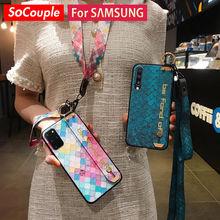 SoCouple etui do Samsung A51 71 50 70 20 30s 21s S20 FE S21 10 S9 Plus uwaga 10 20 Ultra uchwyt na telefon pasek na rękę smycz pokrywa