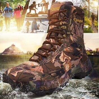 Botas de senderismo de camuflaje para hombre, Botas Militares de alta calidad, impermeables, antideslizantes, amortiguadoras, para escalada de montaña