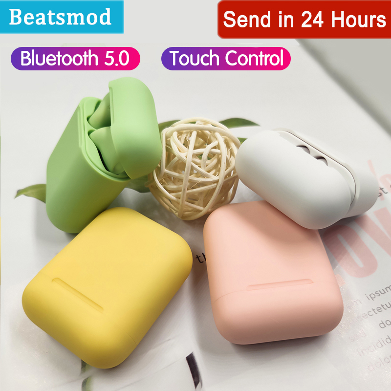 Wireless Bluetooth 5.0 Headphone <font><b>Original</b></font> Macaron <font><b>i12</b></font> <font><b>TWS</b></font> in Earphone Touch Pop-up Stereo Headset Sport Earpiece For Smart phone image