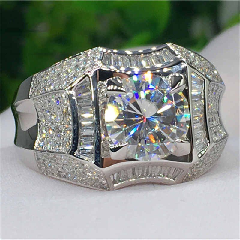 Luxury Solitaire Male 1ct Lab Diamond cz Ring 925 sterling silver Engagement Wedding band Rings for men Gemstones Party Bijou