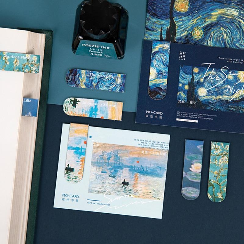 4 Design Art Gallery Magnetic Bookmark For Book Marker Magnet Page Holder Clips Van Goah Starry Night Monet Sunrise School F439