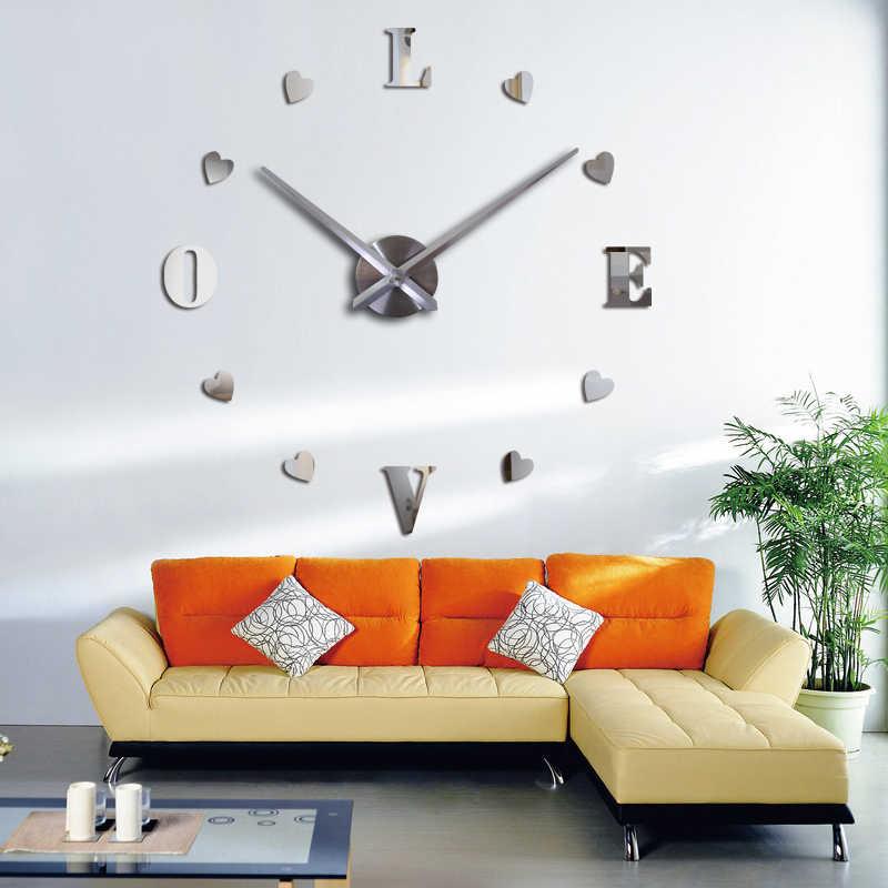 Relojes de cuarzo de diseño moderno, relojes de moda, pegatina de espejo, decoración de sala de estar, nuevo reloj de pared grande en 3d amor