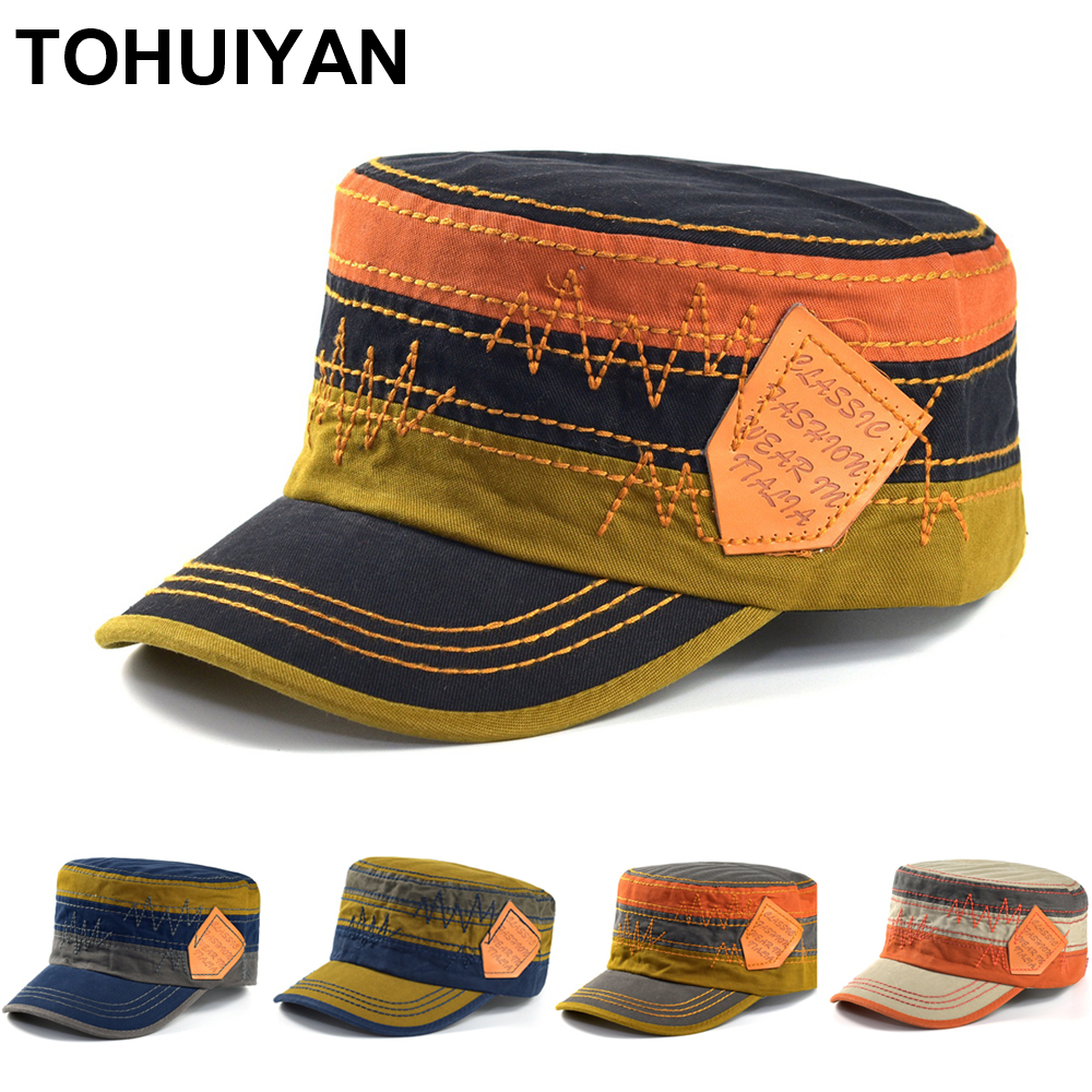 TOHUIYAN New Classic Mens Flat Top Cap Cadet Patrol Bush Hat 100% Washed Cotton Army Caps For Women Fall Summer Military Hats