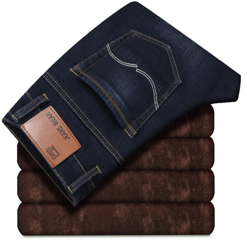 2019 Winter New Men's Velvet Straight Jeans Plus Velvet Lining Warm Casual Washed Jeans Trend Street Large Size Blue Men's Jeans