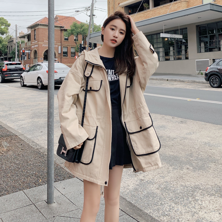 2019   Trench   Coat Spring And Autumn Women Causal coat Long Sleeve With Hood Solid color female moda muje High Quality new