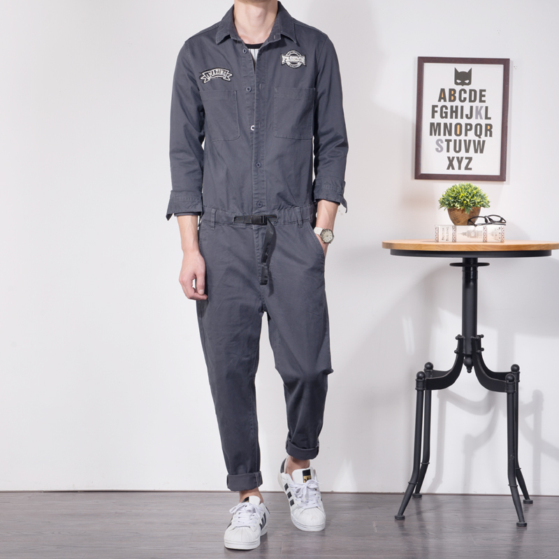 Fashion Mens Cargo Overalls Long Sleeve Jumpsuits Vintage Casual Chic Pockets One Piece Rompers Street High Quality Male Pants