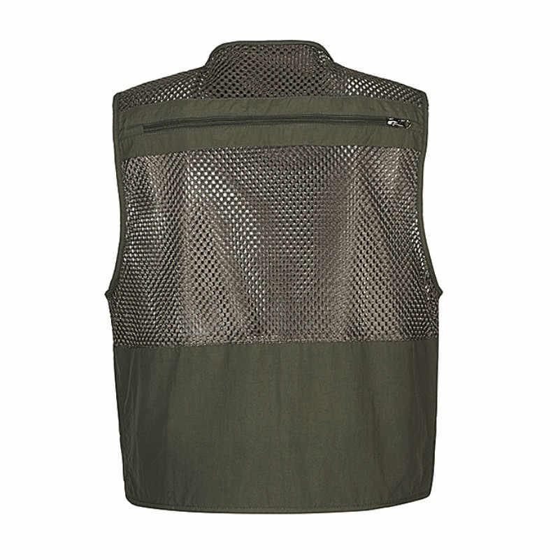 언로드 남자 조끼 전술 Webbed 기어 코트 여름 사진 작가 양복 조끼 도구 많은 포켓 메쉬 작업 민소매 자켓 남성