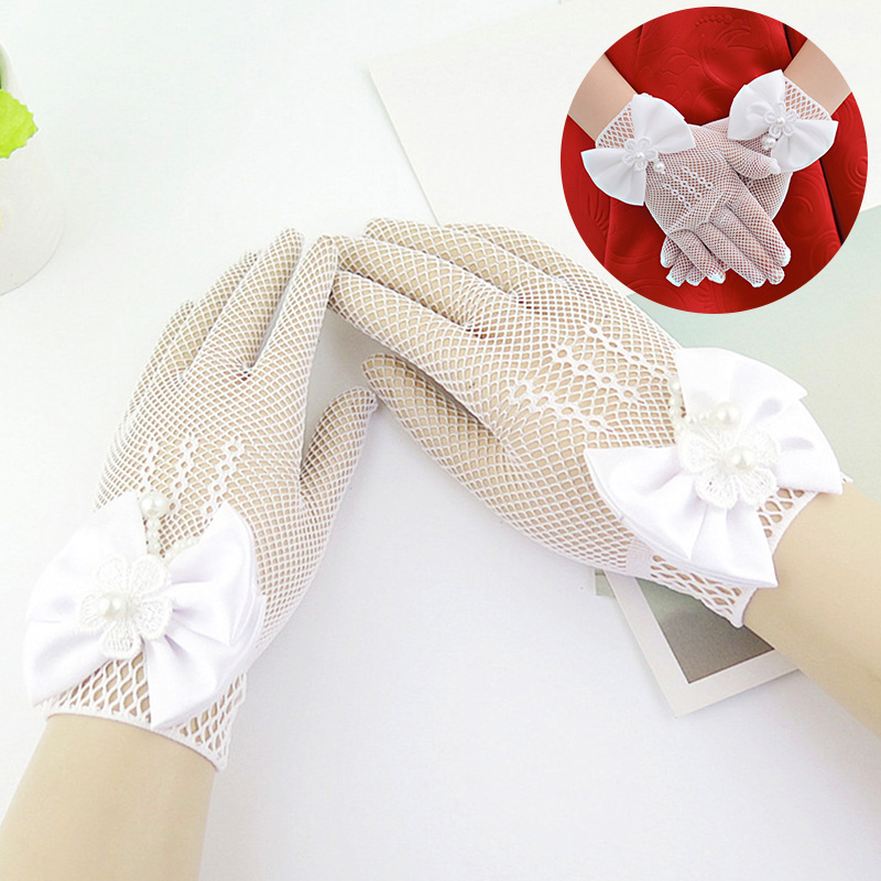 Kids Lace Pearl Mesh Bow Gloves Girl Party Supplies Birthday Ceremony Coronation Accessories For Gilrs Princess Gift Mittens