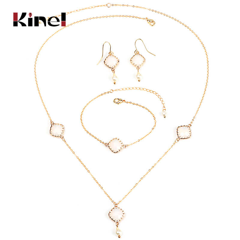 Kinel Fashion White Opal Bridal Wedding Jewelry Sets Gold Color Women Necklace Earrings And Bracelet 3 pcs/Sets Boho Jewelry