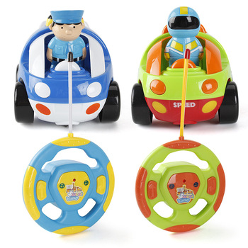 цена на Cartoon RC Car Toy With Sound and Light Baby Remote Control Cute Car Toys Electric RC Police Vehicles Toys For Children Gifts