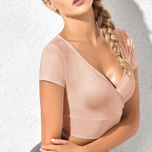 Женская одежда для фитнеса с коротким рукавом глубокий v образный