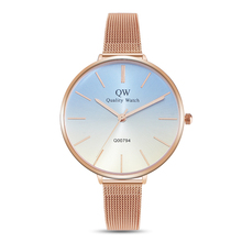 QW Sports 2019 Alloy Gradient Color Dial Wristwatches Womens Minimalist Quartz Brand Ladies Custom Logo Watch