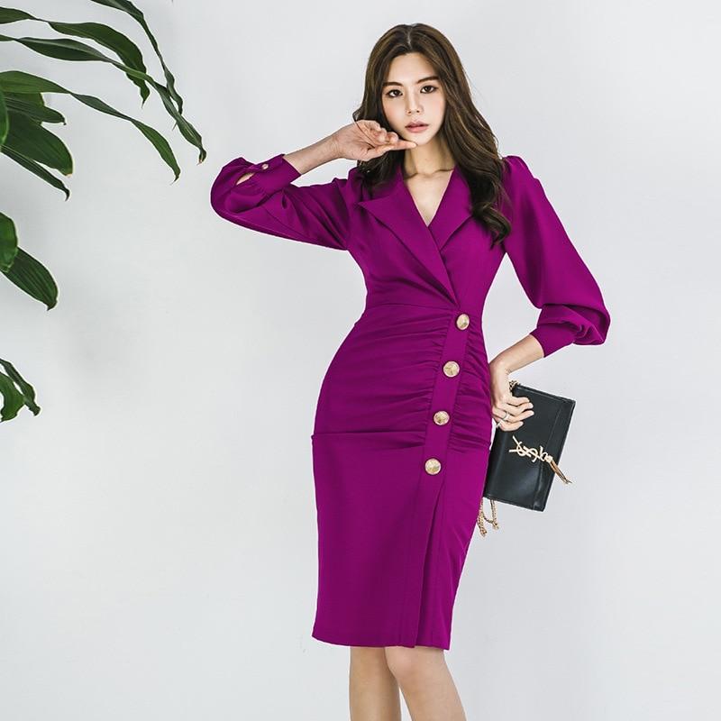 BacklakeGirls 2020 Rose Red Autumn Spring Clothing New Style Suit Dress Fold Slim Fit Long Sleeve Ladies Dresses Vestidos Rosa