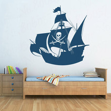 Hot Sale Pirate Ship Wall Sticker for Kids Room Wall Sticker Children's Wall Decal Art Home Decor|sticker for kids room WL1426 hot sale welcome sweet home wall sticker for living room