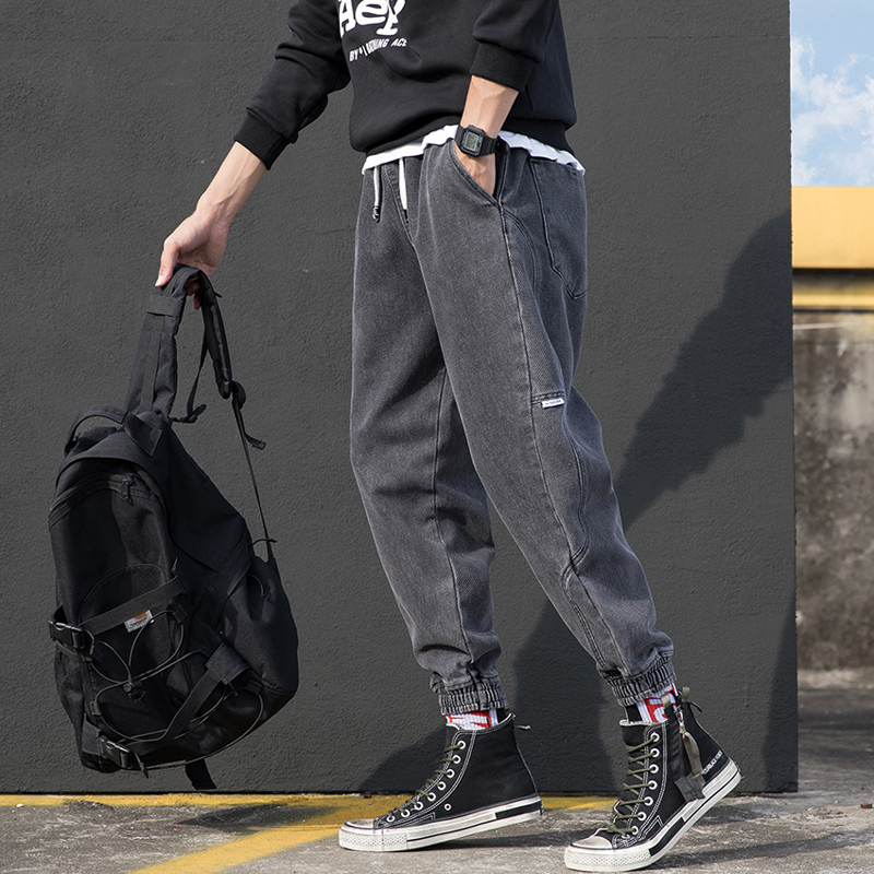 Japanese Style Fashion Men Jeans Gray Color Loose Cargo Pants Spliced Designer Harem Pants Streetwear Hip Hop Jeans Men Joggers