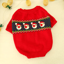 Dog Sweaters For Christmas Snowman Pet Dog Sweater New Year Red Dogs Clothes For French Bulldog Cat Xmas Crochet Coat S M L XL(China)