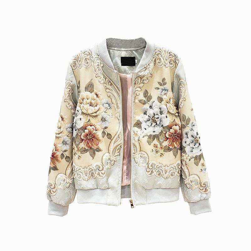 Retro Embroidery   Basic     Jacket   Coat Autumn 2019 Street Satin Bomber Coat Women Luxury Embroidery Baseball Bomber   Jackets   SA353S30