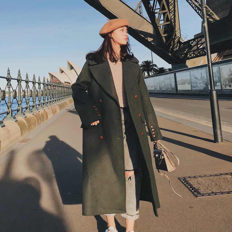 2019 sonbahar ve kış yeni stil zarif yün ceket kadın kore tarzı Slim Fit zayıflama orta uzunlukta ordu yeşil yün kumaş o
