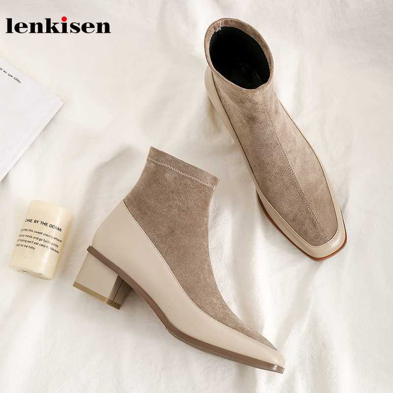Lenkisen genuine leather patchwork stretch flock square toe med heels simple style daily wear winter warm women ankle boots L07