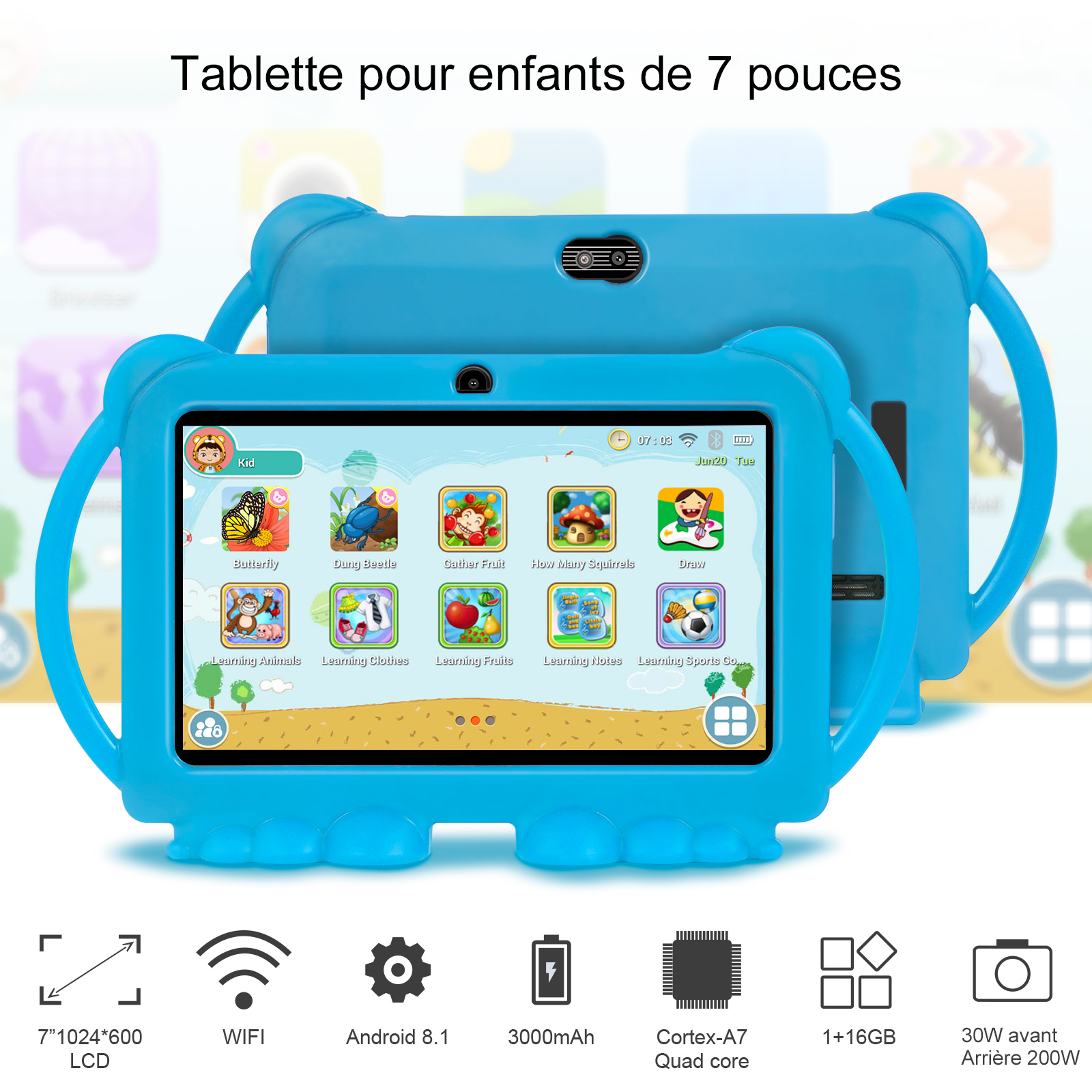 2021 New Android kids learning Education gift tablet Kids Tablet 7 inch HD with Silicone case charging