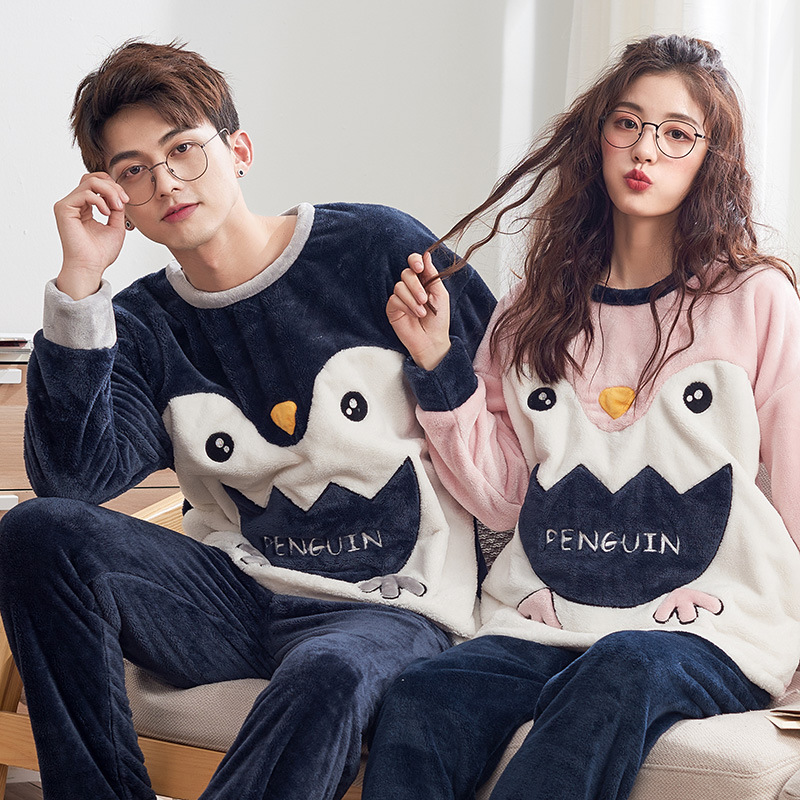 For Men And Women To Keep Warm With Long Sleeves New Autumn - Winter Flannel Couples Can Wear Extra Pyjamas