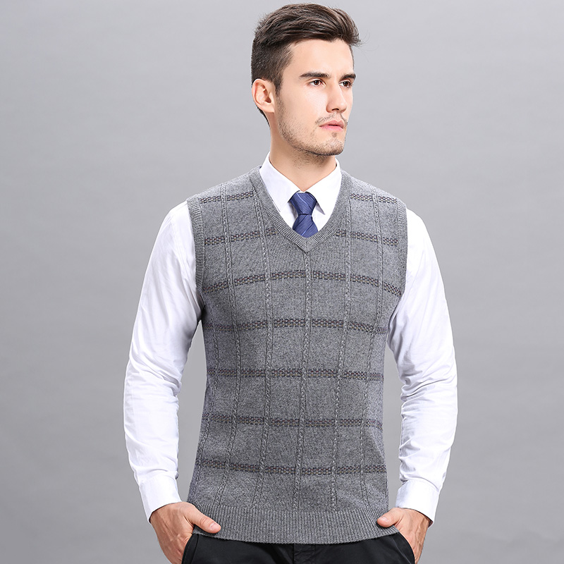 High Quality Mens Autumn & Winter Cashmere Vest Fashion Striped Sleeveless Male Wool  Sweater