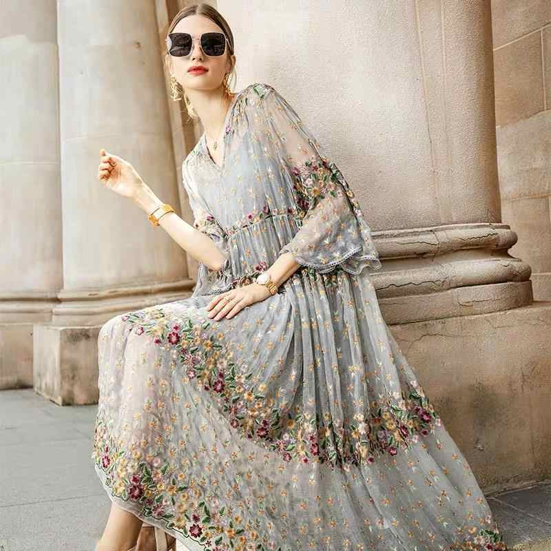 2020 New Summer Mesh Floral Embroidery V-neck Flare Sleeve Dress Women Big Swing Patchwork Pleated Dresses Plus Size 4xl S52
