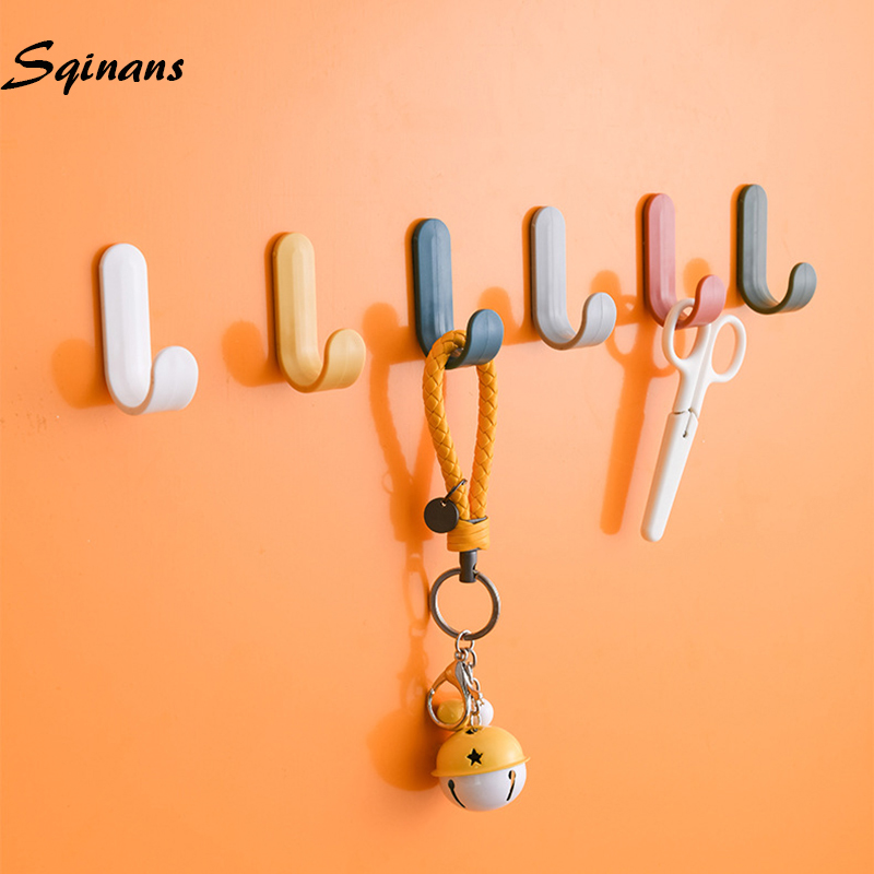 Sqinans 4pcs/set Towel Hooks Plastic Door Hangers Self Adhesive Wall Hangers Hat Racks Keys Hanger Home Decor