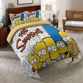 Best Simpson Bedding Sets Funny Children Bedroom Cover Pillowcase 2/3 Piece