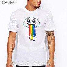 Lgbt clothes mens Gay Lesbian Rainbow cloud Print tee shirt homme cute summer top male t-shirt men funny t shirts streetwear