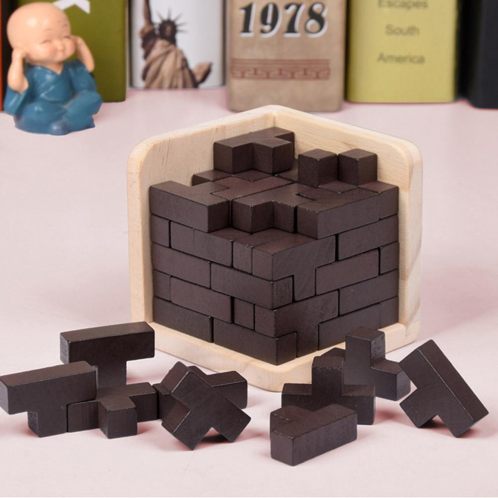 3D Wooden Puzzles IQ Toy 54T Russia Ming Luban Cubes Educational Toys For Children Kids Adults IQ Brain Teaser Burr IQ Toys
