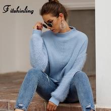 Fitshinling Hairy Long Sleeve Sweaters Women Winter 2019 Turtleneck Pullover Knitwear Slim Jumper Fashion Patchwork Pull Femme