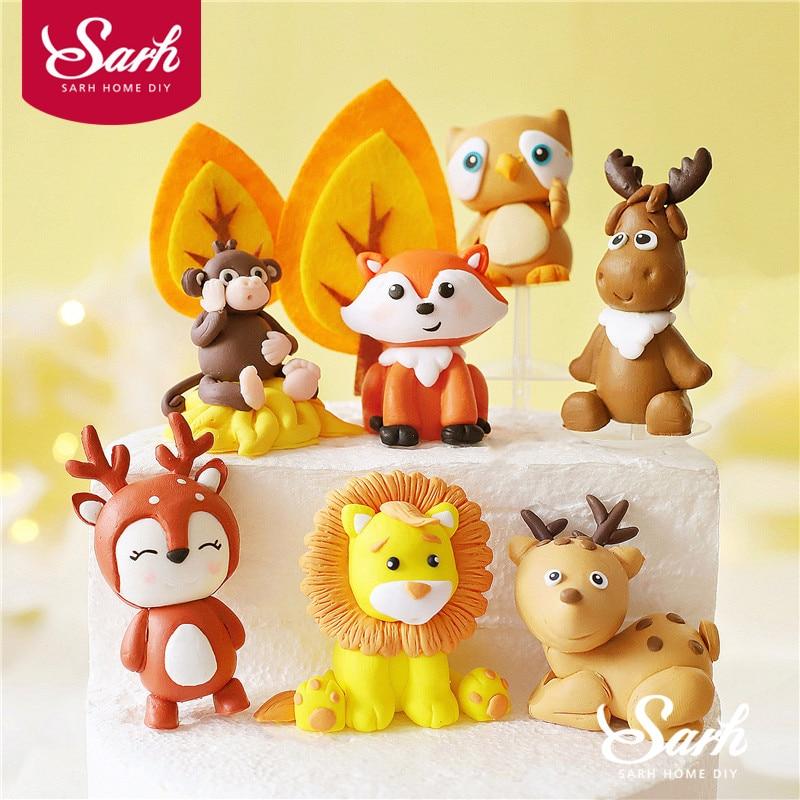 Animals Lion Deer Felt Giraffe Owl Tree Cake Topper for Birthday Party Decoration Baking Supplies Baby Shower Dessert Decorating