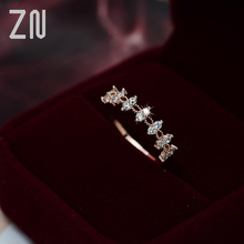 ZN New White Crystal Lace Rings For Women Wedding Engagement Party Beautiful Rings Rose Gold Fashion Jewelry Gift zn new white crystal lace rings for women wedding engagement party beautiful rings rose gold fashion jewelry gift