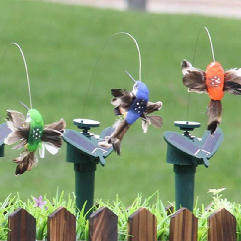 ใหม่ Flying Fluttering Hummingbird ตลกของเล่นพลังงานแสงอาทิตย์ Powered นกผีเสื้อสำหรับตกแต่งสวนสีสุ่ม 1PC