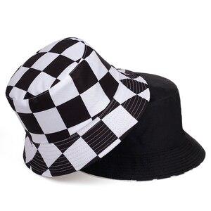 Moda verano sombrero de cubo a cuadros negro blanco Cubo de Panama sombreros plegables de algodón para mujer hombres sombreros de pesca Hip Hop Bob gorras Unisex