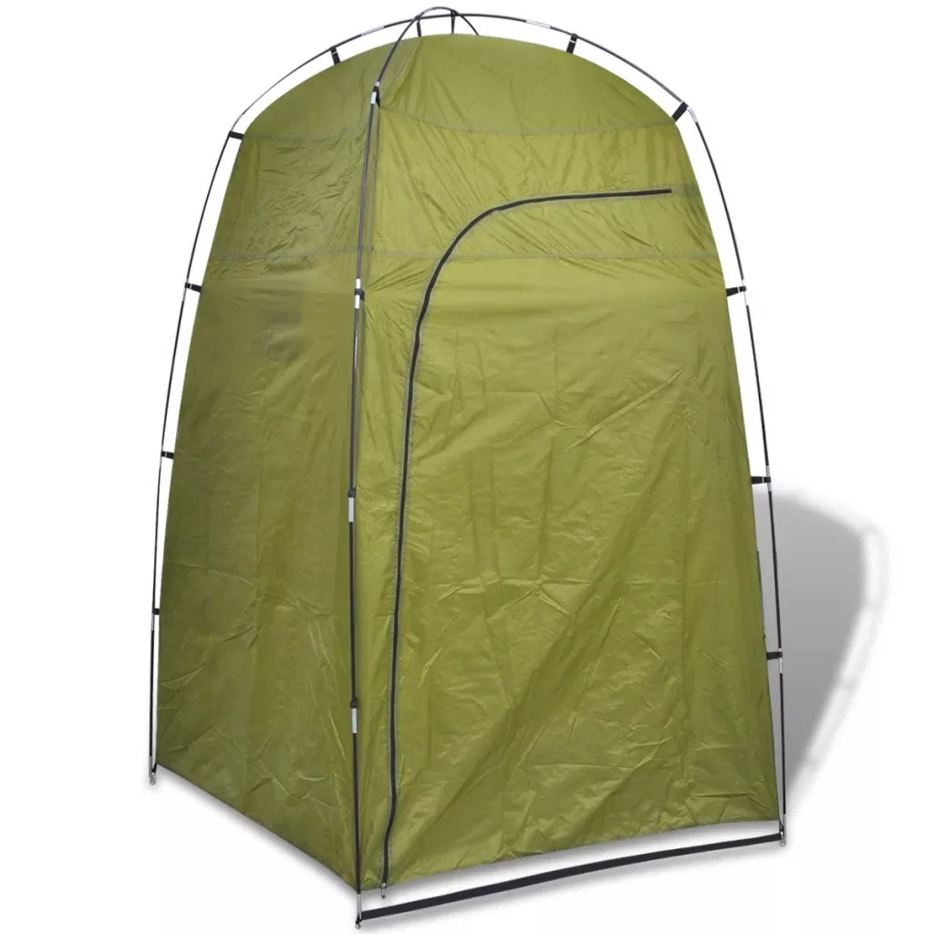 VidaXL Shower/WC/Changing Tent Green 91020 With Large Zipped Door Two Storage Compartments Waterproof Tent 130 X 130 X 210 Cm