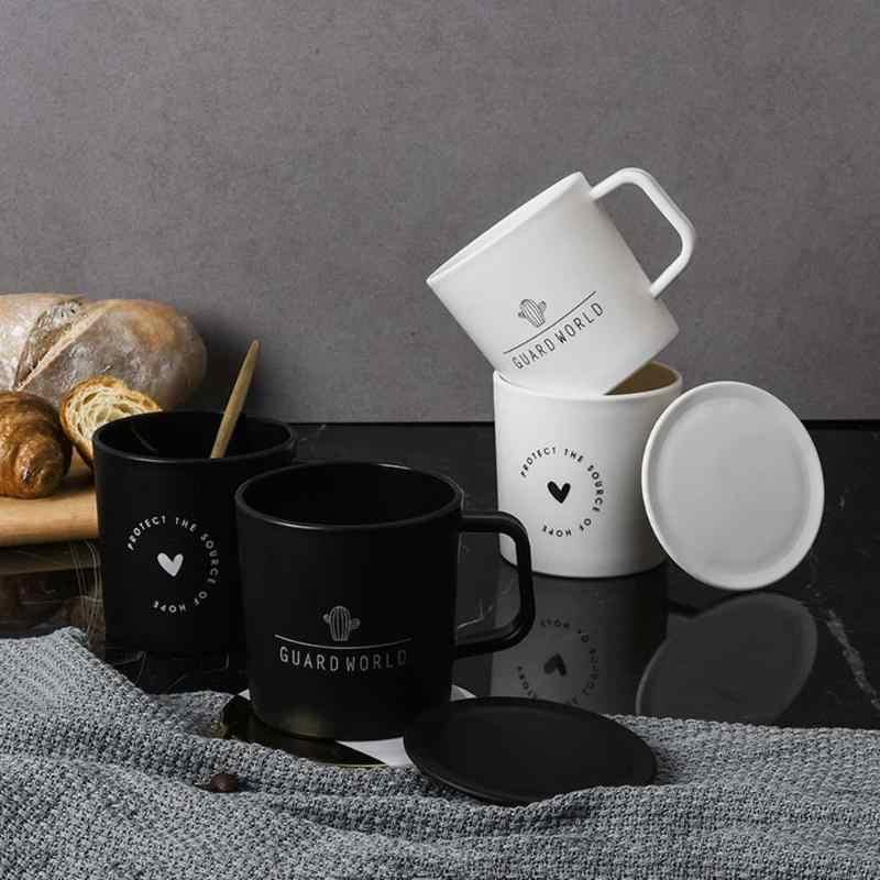 クリエイティブセラミックマグ北欧スタイルプラスチックコーヒーカップマグ紅茶ミルクカップ蓋ホーム箸置き茶酒飲みカバー特別なスロットカップ
