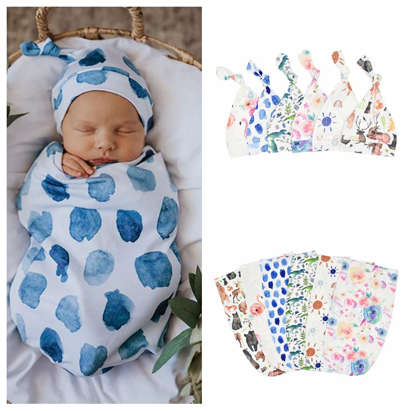 Baby Sleeping Bags+Hat Newborn Baby Cartoon Swaddle Wrap Envelope 0-3 Months Cotton Baby Blanket Swaddling Wrap Sleepsack