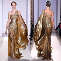 Couture Appliques Gold Evening Dresses Long Mermaid One Shoulder with Appliques Sheer Vintage Pageant Prom Gowns