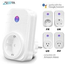 Wi fi inteligente plug power adaptador de tomada elétrica ue/eua/reino unido/au tomada tempo de voz controle remoto por echo alexa google assistente casa