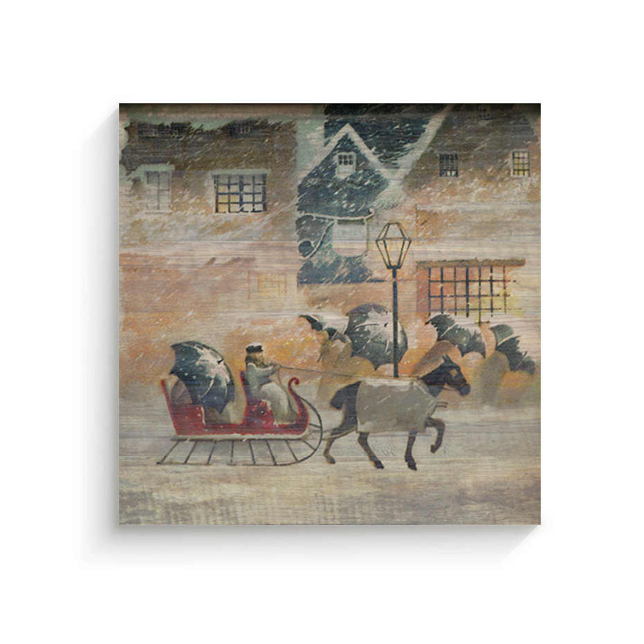 Gerahmte Pferd und Schlitten Chrismas Leinwand Gemälde Weihnachten Poster Wand Kunst Leinwand Drucke Bilder Kinderzimmer Home Inneren Rahmen