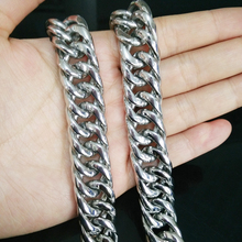 Mens Miami Cuban Link Silver Chain 16mm Necklace Stainless Steel European and American Hip-Hop Jewelry
